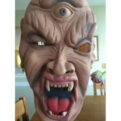 HALLOWEEN MASK Screaming face with fangs - Elastic head strap