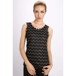 Metallic Pattern Wave Cut Out Top