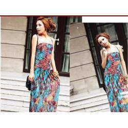 فستان متعدد الألوان ,الطاووس